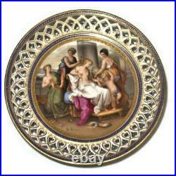 Royal Vienna Footed Pedestal Cake Plate, Reticulated Rim Restoration of Venus
