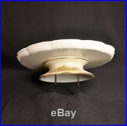 Royal Worcester Blush Ivory Pedestal Cake Plate 1889 Floral Gold withOutlining