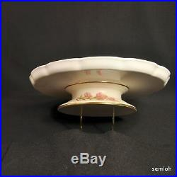 Royal Worcester Blush Ivory Pedestal Cake Plate Floral Gold withOutlining 1889
