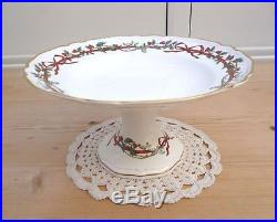 Royal Worcester Holly Ribbons Rare Comport / Cake Pedestal Stand Dish Plate 9.5