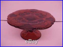 Ruby Red Pedestal Cake Plate Heavy Gold Inverted Thistle Pressed Pattern Mosser