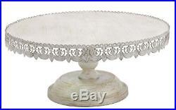 Rustic Cake Stand Whitewashed Round Metal Pedestal Dessert Plate Wedding Tray