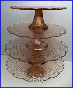 SET OF 4 Vintage PINK Depression Glass Style PEDESTAL CAKE PLATES Floral Leaves