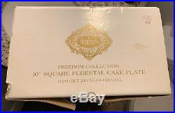 SHANNON CRYSTAL BY GODINGER Freedom Square 10 1/4 Pedestal Cake Plate NIB