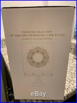 SHANNON CRYSTAL BY GODINGER Freedom Square 10 1/4 Pedestal Cake Plate NIB