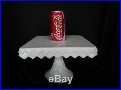 SQUARE CAKE PLATE PEDESTAL STAND with Brandy Well Criss Cross Milk Glass White