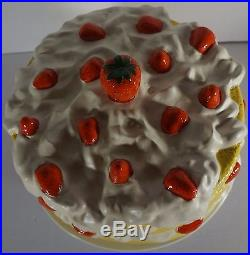 Strawberry Shortcake Ceramic Pedestal Cake Plate Stand With Dome Cover