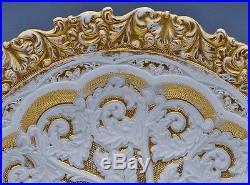 STUNNING LARGE 19thC VICTORIAN MEISSEN PORCELAIN GOLD GILT PEDESTAL CAKE PLATE