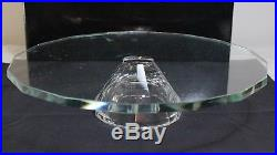 Saks Fifth Avenue Crystal Glass Pedestal Cake Plate Stand Modern Footed 13 Lucy