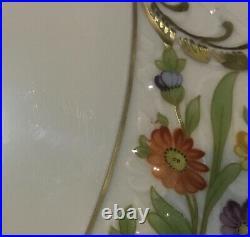 Schumann Dresden Flowers Empress 12 Flat Top Cake Plate Footed Pedestal Bakery