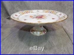 Schumann Empress Dresden Flowers Pedestal Cake Plate 12 across