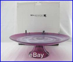 Sea Glasbruk Kosta Sweden Purple Art Glass Pedestal Cake Plate NIB