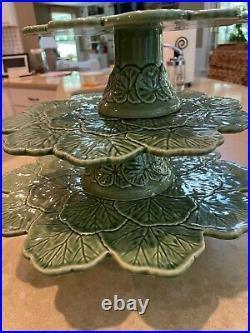 Set of 3 Bordallo Pinheiro Geranium Pedestal Cake Stands