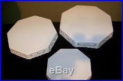 Set of 3 Kaldun & Bogle Stackable White OCTOGON Pedestal Cake Plate Stands