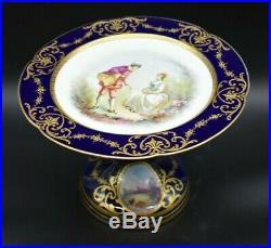 Sevres French Cobalt Blue & Gold Watteau Scene 9 1/4 Pedestal Cake Plate Taza