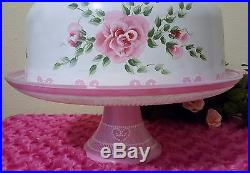 Shabby Chic Pink Roses Hearts Cake Pedestal Stand Plate & Dome Hand Painted