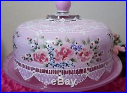 Shabby Chic Pink Roses Lace Blue Flowers Cake Pedestal Plate Dome Hand Painted