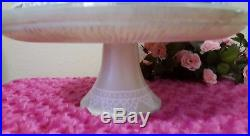 Shabby Chic Pink Roses Lavender Cake Pedestal Stand Plate & Dome Hand Painted