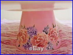 Shabby Chic Pink Roses Ribbons Cake Pedestal Stand Plate & Dome Hand Painted