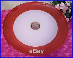 Shabby Chic Pink Roses Ribbons Lace Cake Pedestal Plate & Dome Hand Painted