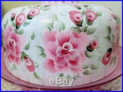Shabby Chic Pink Roses and Stripes Cake Pedestal Stand Plate & Dome Hand Painted