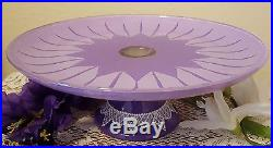 Shabby Chic Purple Roses and Lace Cake Pedestal Plate & Dome Hand Painted