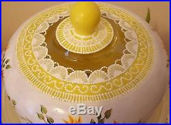 Shabby Chic Yellow Sunflowers and Lace Cake Pedestal Plate & Dome Hand Painted