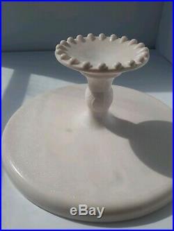 Shell Pink Cake Stand/Plate Vintage Jeannette Pedestal Hobnail Milk Glass