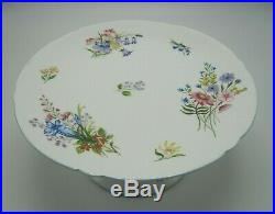 Shelley Pedestal Cake Plate Wild Flowers (Gainsborough- Blue Trim) 13668 HTF