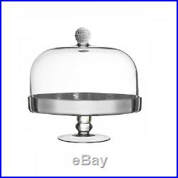 Silver Medley Baked Pies Tarts Glass Display Pedestal Cake Plate With Dome Cover