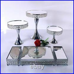 Silver Metal Cake Stand Round Pedestal Display Dessert Cupcake Plate Home Decor