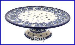Spring Blossom Pedestal Cake Plate Polish Pottery