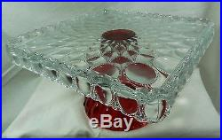 Square Elizabeth Cake Plate Stand Pedestal Ruby Red Baseand Crystal Top Salver