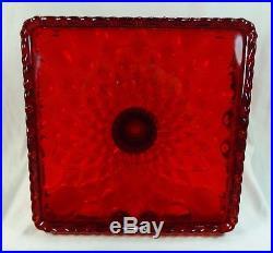 Square Elizabeth Cake Plate Stand Pedestal Ruby Red Glass Salver
