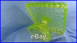 Square Elizabeth Cake Plate Stand Pedestal Vaseline Glass Salver