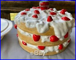 Strawberry Shortcake Cake Cover and Pedestal Cake Plate Yellow White Red Vintage