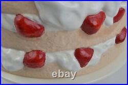 Strawberry Shortcake Ceramic Pedestal Cake Plate Dome Cover Lid Stand