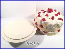 Strawberry Shortcake Ceramic Pedestal Vintage Cake Plate Dome Cover Raise Stand