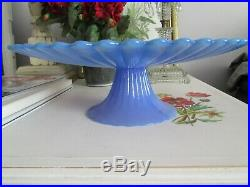Stunning 12.75 Blue Murano Signed Effetre Cake Stand Pedestal Plate Yalos Casa