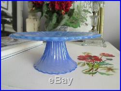Stunning 8 1/4 Blue Murano Signed Effetre Yalos Casa Cake Stand Pedestal Plate