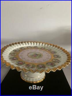 Stunning Antique Royal Vienna Cake Sandwich Stand Pedestal Plate Shield Beehive