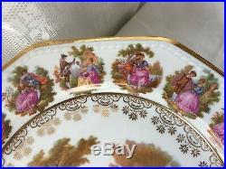 Stunning! Gloria Royal Bayreuth'Fragonard' Romantic Scene Pedestal Cake Plate