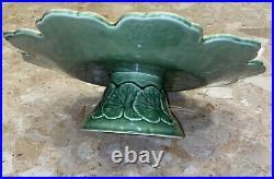 Sur La Table Green Yellow Grape Leaf Cake Plate Pedestal Stand 13 Portugal
