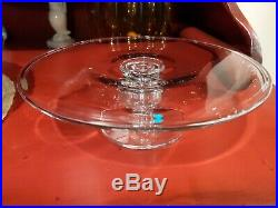 Tiffany & Co Crystal Glass Pedestal Round Cake Stand Plate