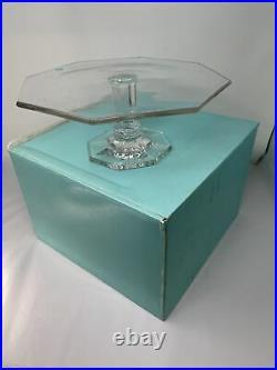 Tiffany & Co. Crystal Windham Pedestal Cake Stand Plate Platter Octagonal