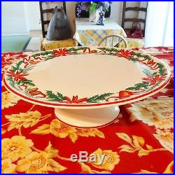 Tiffany & Company Holly Porcelain Holiday Christmas Pedestal Cake Plate 12.5
