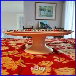 Tiffany & Company Holly Porcelain Holiday Christmas Pedestal Cake Plate 12.5