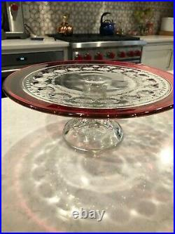 Tiffin Kings Crown Ruby Flashed 12 Pedestal Footed Cake Plate