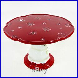 Tracy Porter JOLLY OL SNOWY 11 Pedestal Cake Plate Stand Snowman Holly Mint