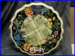 Tracy Porter Jardiniere Collection Black Floral 12 Pedestal Cake Plate